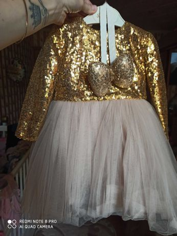 Дитяче платтячко в золотому кольорі, розмір 80-86!