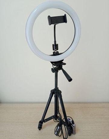 Новый штатив 1,35м +лампа кольцевая д.26см Набор для блогера