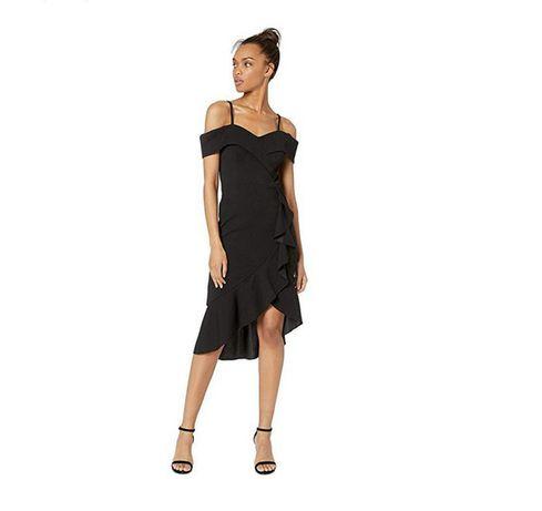 Платье Bebe черное открытые плечи