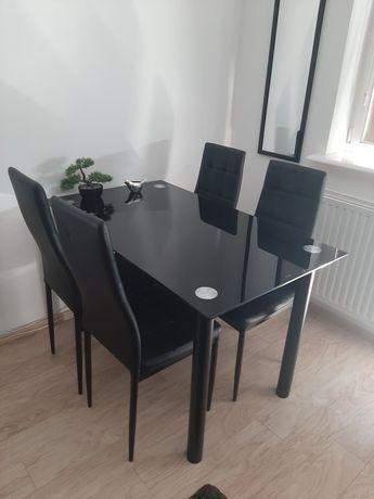 Stół szklany z 4 krzesłami CZARNY PIĘKNY