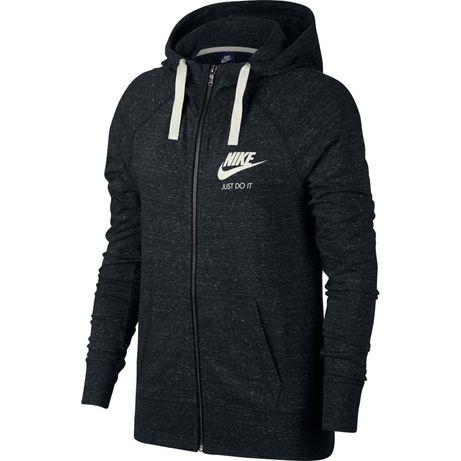 Damska czarna cieńka bluza bawełniana z kapturem Nike rozm.S