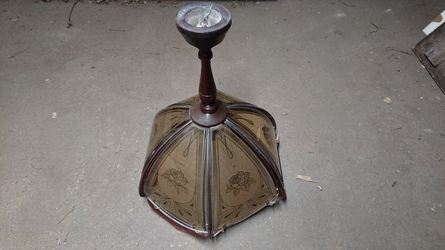 Lampa wisząca szkło drewno