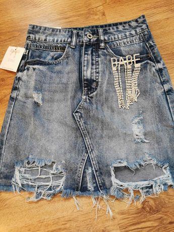 Spódnica jeansowa przetarcia broszka Babe cyrkonie