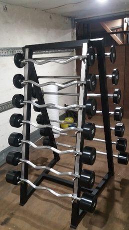 Sztangi łamane i proste gumowane 350kg 10-40 stojak zestaw 175kg+175kg