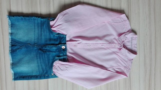 Spódnica H&M rozm 128 koszula Cool Club rozm 122