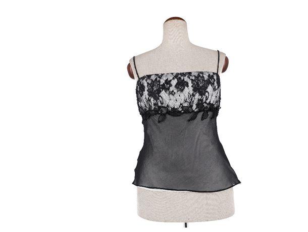Luźna, czarno- biał bluzka na ramiączkach marki Hexeline, rozmiar 42