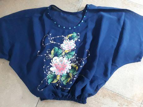 Ręcznie malowaną bluzka kimono granatowa w róże M/L