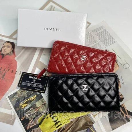 Женский кожаный стеганный кошелек клатч на молнии Chanel Шанель жіночи