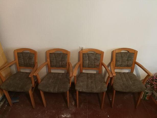 Stylowe 4 Krzesła/fotele drewniane do renowacji PRL Vintage komplet
