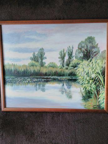 Obraz ramie na płótnie ręcznie malowany pejzaż widok krajobraz staw