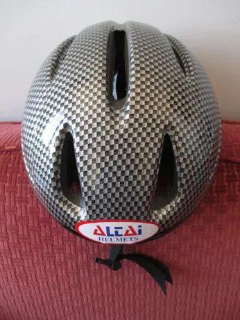 NOVO: Capacete de bicicleta ALTAI, Ajustável, aos quadradinhos cinzen