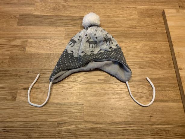 Ciepla zimowa czapka z pomponem, ocieplana polarem, wiązana, H&M 86/92