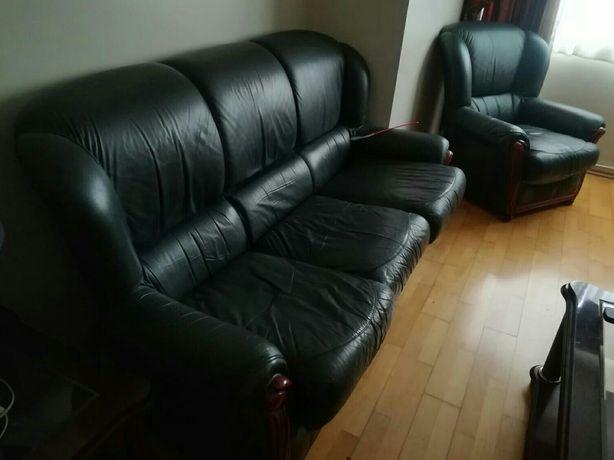 Conjunto de 3 sofás em pele e madeira