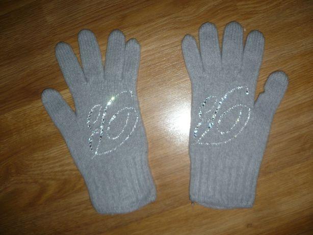 Перчатки зимние теплые для девочки 9-10 лет Италия Серые