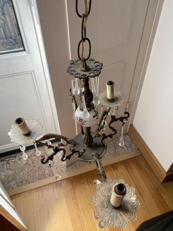 Lustre Candeeiro Candelabro antigo loica/ vidro/ metal