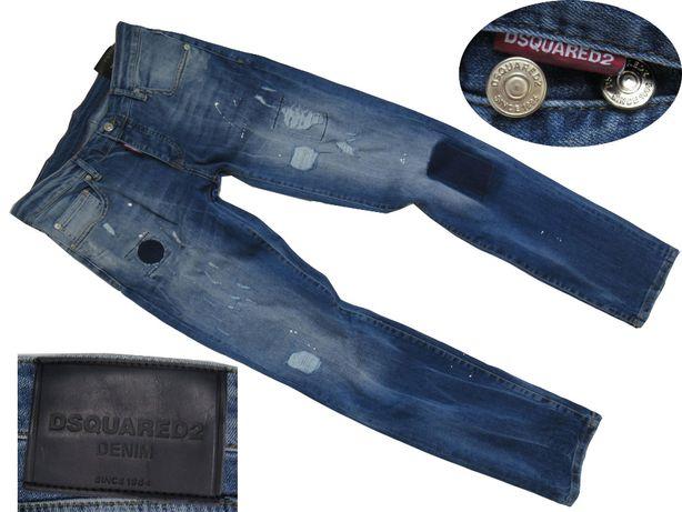 DSQUARED2 Spodnie męskie przecierane łaty jeans M -50%