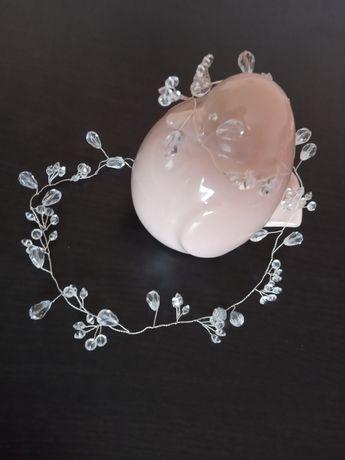Opaska ozdoba ślubna kryształki 50 cm