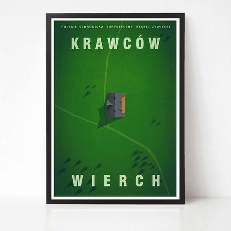 Plakat Krawców Wierch - Polskie Schroniska Turystyczne Beskid Żywiecki