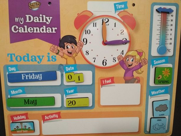Calendário magnético em inglês