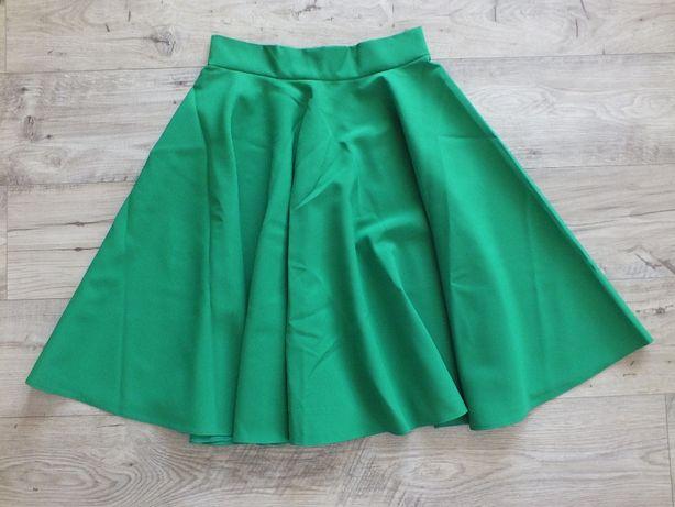 Spódnica rozkloszowana z koła zielona rozm.36 NOWA