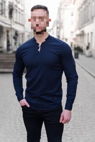 Рубашка без ворота однотонная сорочка рубашка мужская