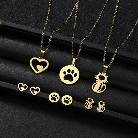 Śliczne Złote Komplety Biżuterii
