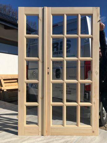 Drzwi dwuskrzydłowe sosnowe drewniane francuskie od ręki