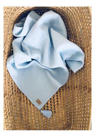 Komplet kocyk i poduszka WAFEL 100% bawełna używane