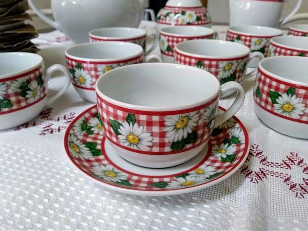 Serviço de chá, em porcelana, marca Costa Nova, modelo Galesia