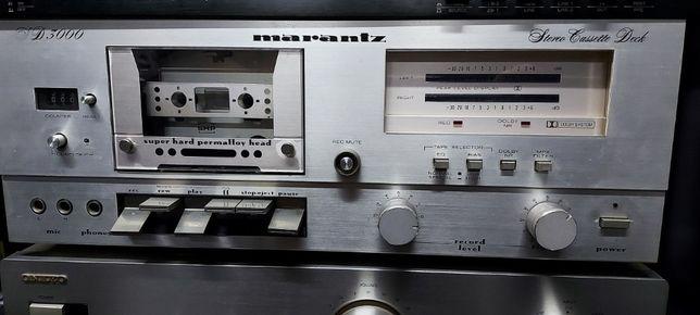 Aparelhagens vintage hi-fi Marantz Onkyo Deck cassete e amplificador