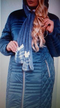 НОВОЕ!!! Зимнее женское пальто с шарфом ОСТАЛОСЬ ОДНО! БОЛЬШИЕ РАЗМЕРЫ