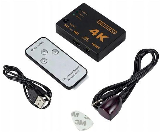 Rozdzielacz Switch HDMI 4K Ultra HD z pilotem