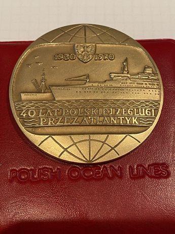Medal 40 lat Polskiej Żeglugi przez Atlantyk 1970. Mennica Państwowa