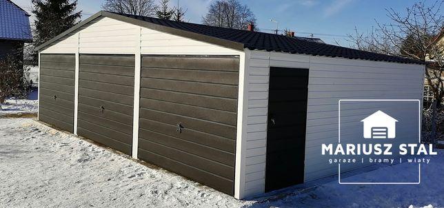 Garaż blaszany 9x6 trzystanowiskowy w kolorze 9010/9005 PRODUCENT!!