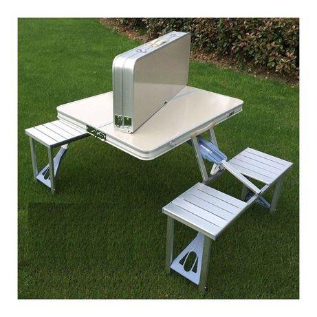 Раскладной стол со 4-мя стульями Travel Table, походный, алюминиевый