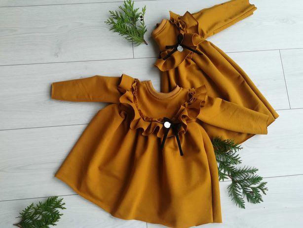 Miodówa musztardowa sukienka rozmiar 110 z falbanką