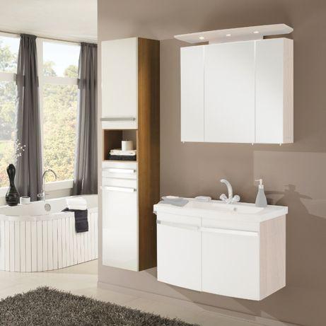 Nowe – meble łazienkowe – słupek, szafka MDF – biały połysk