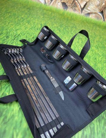 Шашлычный набор для пикника с шампурами в чехле на 6 персон