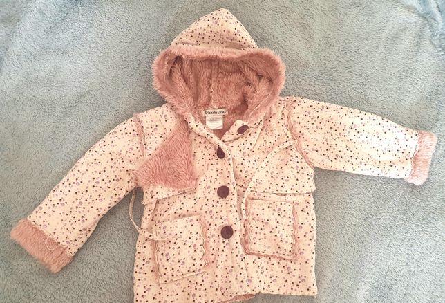 Kożuszek plaszczyk kurtka jesien pudrowa dziewczynka r.86/92 +czapka