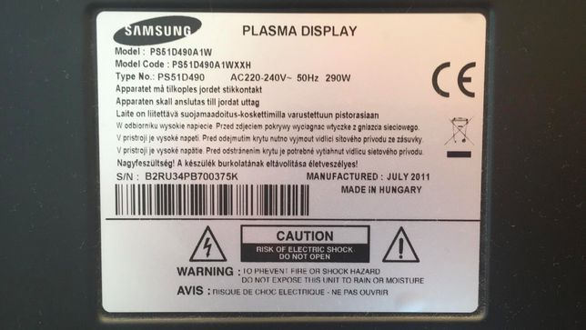 "SAMSUNG Plasma Display 3D PS51D490A1W, 51"" Pekniety ekran"
