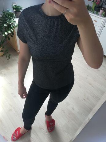 Czarny tshirt brokatowy bluzka