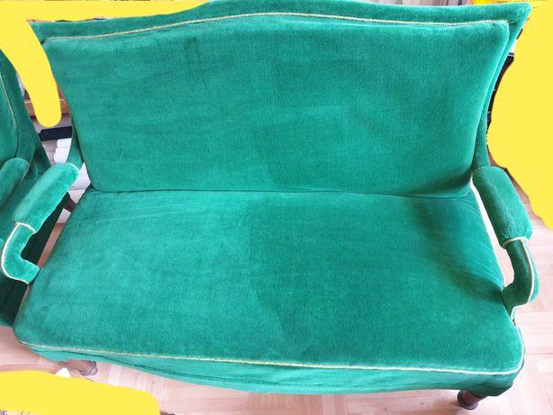 sofa oraz 2 fotele butelkowa zieleń, antyk