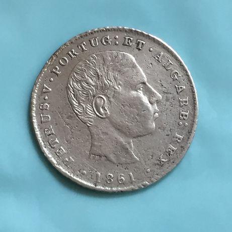 moeda 100 réis 1861 D. Pedro V - prata