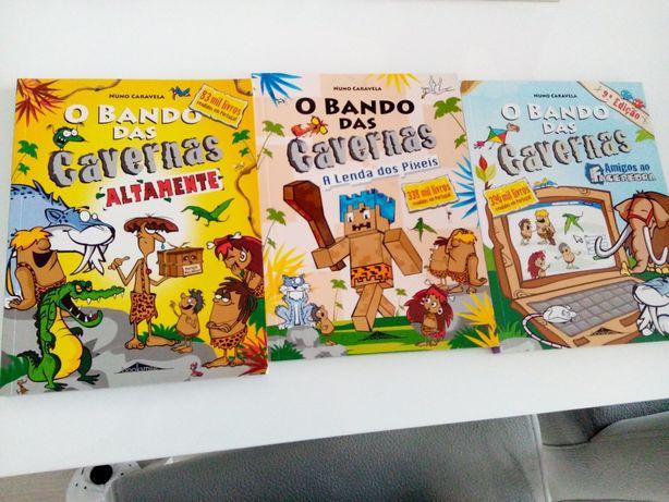 """3 Livros o """"Bando das Cavernas""""."""