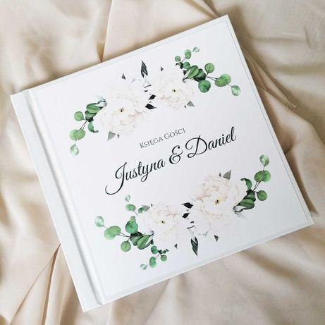 Piękna księga gości na wesele - biała piwonia