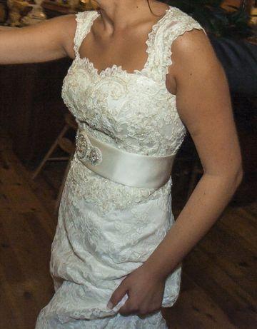 Koronkowa suknia ślubna ecru rozm. 38-40