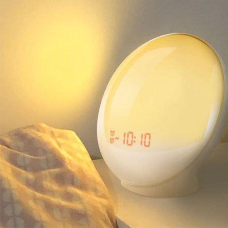 Световой будильник с радио, часы-рассвет, светильник, ночник