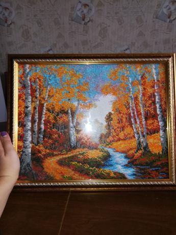 """Картина """"Золота осінь"""" бісером"""