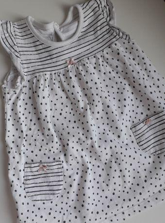 Biała sukienka w kropki z krótkim rękawem George 80-86