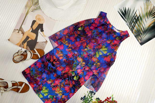 Платье летнее воздушное яркое синее розовое с  рисунком next asos